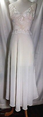 Vtg Natori Stretch Lace Satin Floral Bodice Nightgown Long Flare Ivory White W M