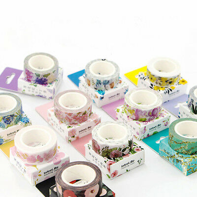 1pc Pretty Art DIY Floral Washi Sticker Roll Paper Masking Adhesive Tape Decor