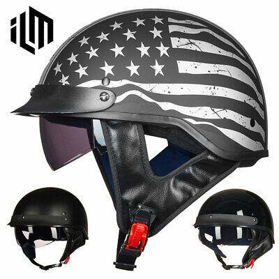 3c8c61b9 ILM Motorcycle Half Helmet with Fastening Buckle Bike Helmet Sun Visor DOT  Gifts