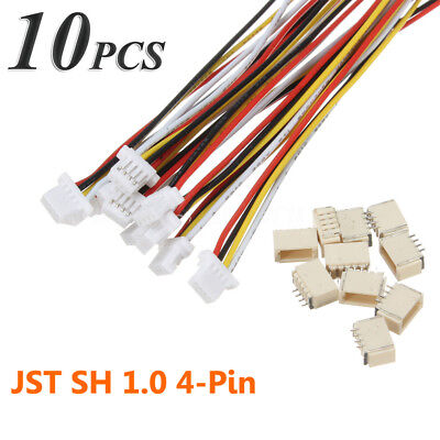10sets Micro JST 1.0mm SH 4-Pin Housing Male Female Connector Plug With Wires