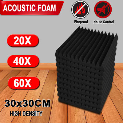 20/40/60PCS Studio Acoustic Foam Panel Sound Absorption Proofing Treatment Wedge