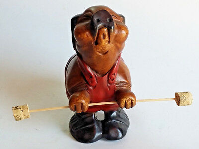 Hand Carved Wooden Pig Figurine Weight Lifter Teak Wood Carving Paint Home Decor