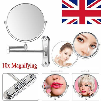 """8"""" Stylish Wall Mounted Make Up Shaving Double-sided Vanity Mirror + 10x Magnify"""