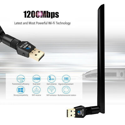 1200Mbps USB Wireless Wifi Network Adapter Dongle Dual Band 2.4/5Ghz Antenna
