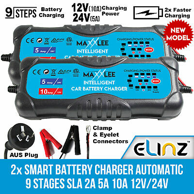 Maxxlee 2x Smart Battery Charger Automatic 9 Stages SLA 2A 5A 10A 12V 24V 4WD