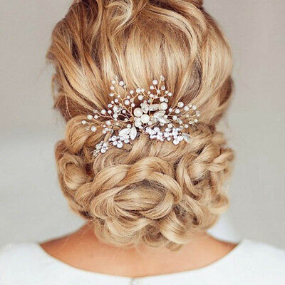 2xVintage Wedding Hair Piece Bride Party Comb Bead Rhinestone Headpiece Handmade