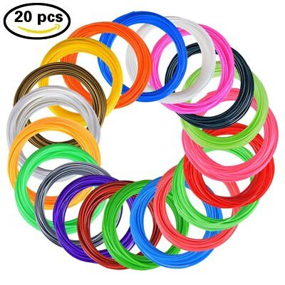 3D Stift PLA Filament 20 Farben Ink 10m PLA 1.75mm 20stk Set 3D Printing Pen Sup