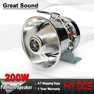 200 Watts Loud Sound Fire Truck Siren Speaker PA System Police Kit Warning Horn