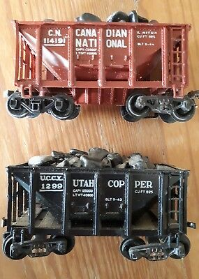 2 x open hopper cars. HO scale. with loads