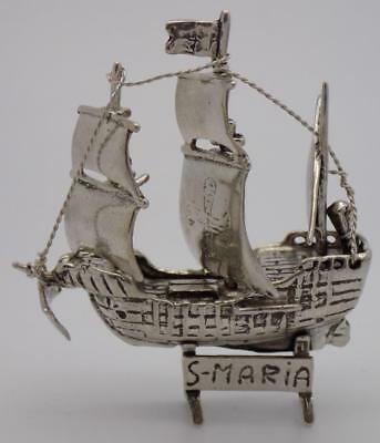 40.58g/1.431-oz. Vintage Solid Silver Italian Made St. Mary Columbus Ship, Stamp