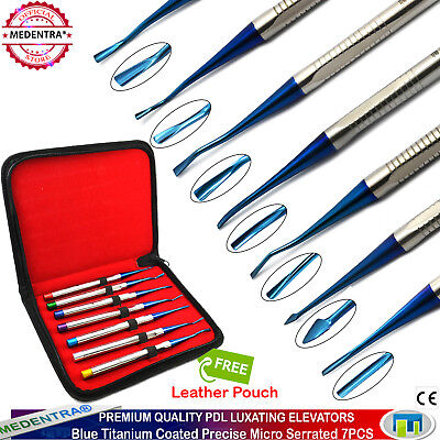 7PCS Dental PDL Luxating Elevators Precise Micro Serrated Titanium Tips+Pouch CE