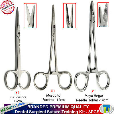 Hemostatic Surgical Suturing Forceps Scissors Needle Holder Mayo Hegar 3Pcs Set