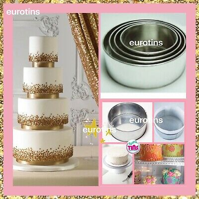 Professional Heavy Duty 4 Tier Round Anniversary Wedding Cake Baking Tins Pans