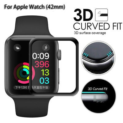 HD Full Cover 3D Tempered Glass for Apple Watch 42mm Screen Protector Film Black