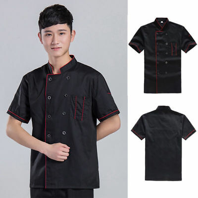 US Shipping Chef Jacket Coat Chef Uniform Kitchen Men Short Sleeve Restaurant