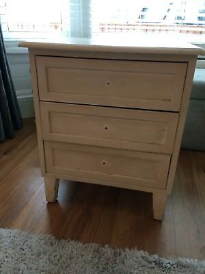 Pair of quality solid bedside tables, lined drawers, shabby chic, vintage.