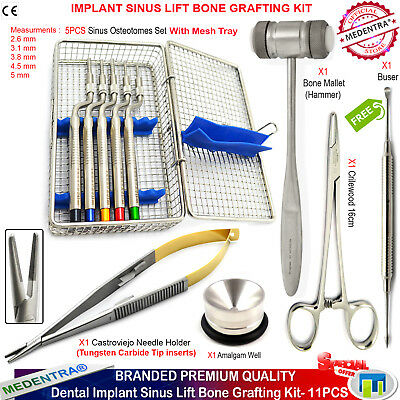 MEDENTRA® Sinus Lift Osteotome Elevators Hammer Bone Grafting Surgery Kit 11Pcs