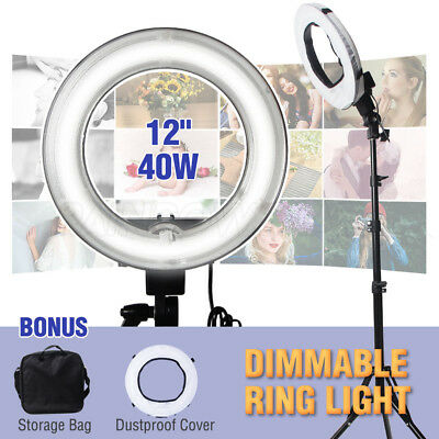 """5500K Dimmable Photography 40W Ring Light w/Diffuser Phone Camera Stand 12"""" Lamp"""