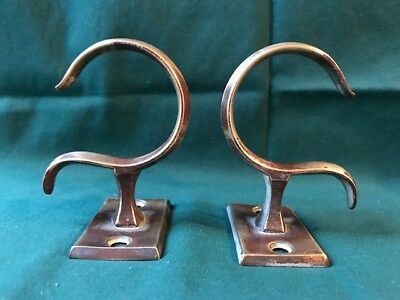 Pair (b), Antique Early 19th Century Brass Jamb Hooks Hearth Fireplace Federal