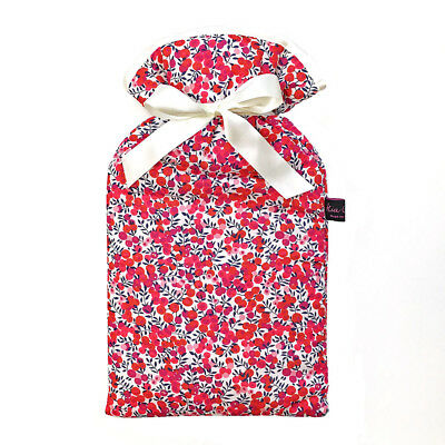 Famous Liberty London Fabric Wiltshire Red Print Padded 2L Hot Water Bottle