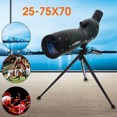 25-75X70 Waterproof Precision Zoom Spotting Scope Monocular Telescope+Tripod+Bag