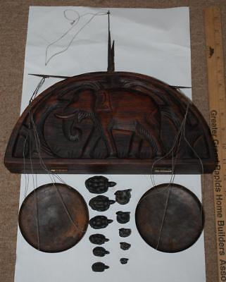 vtg opium scale rare cast iron turtle & bird weights in elephant wood opium box