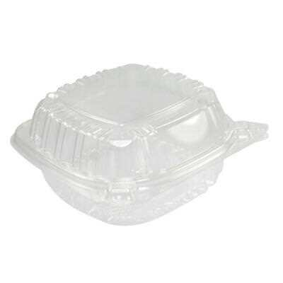 Food Container Small Clear Plastic Hinged Sandwich Salad Cake Storage 50 Pcs New