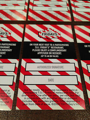 Tgi Fridays Free Appetizer/dessert Coupons Gift No Expiration $80 Value Cards