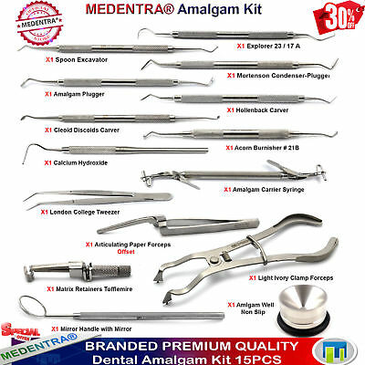Amalgam Filling Restorative Composite Scalers Carvers Burnishers Dental Kit X15