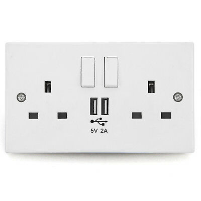 Wall Socket USB Plug Double Power Outlet UK 13 Amp Charger 2-Gang Electric Port
