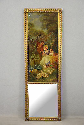 Antique 1880 French antique Trumeau mirror painting oil victorian scene sheep