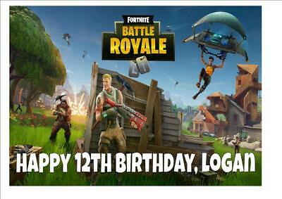 Fortnite #d2 Game Birthday Cake Topper Edible Rectangle A4 Topper  Personalised