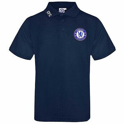 Official Chelsea FC Crest Football Polo Shirt (Adults Sizes) Navy