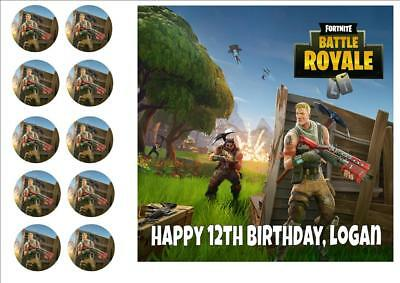 "Fortnite #d2 Birthday Cake Topper Edible 7.5"" Square Topper  Personalised"