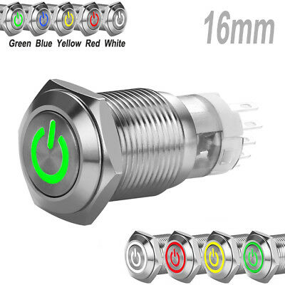 Stainless Steel Green LED 12V 16mm Power Button Switch Push ON/OFF for Car Boat