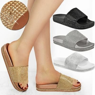 Womens Ladies Flats Sliders Diamante Sparkly Slip On Sandals Summer Shoes Size