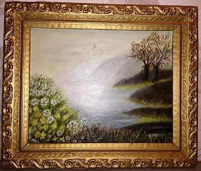 Antique Very Fine Oil Painting Summer Landscape Signed Ornate 19thC