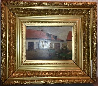 Antique Very Fine Oil Painting Farmyard Ornate 19thC