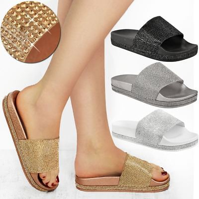 Intelligent Womens Ladies Studded Slider Flat Summer Sandals Cage Slides Bling Diamante Size Strong Packing Women's Shoes