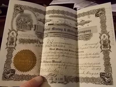 1909 Nevada Ideal Mining & Milling Company Stock Certificate