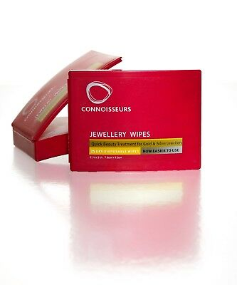 Connoisseurs Jewellery Wipes - Jewellery Cleaner Sparkle, 25 Wipes.