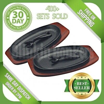 2 Steak Sizzle Sizzling Serving Oven Platter Plate Dish Wooden Base Bottom 8C