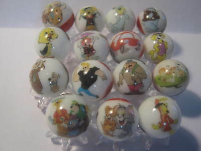 Hanna Barbera Collection.. Mixed lot glass marbles 5/8 size + stands