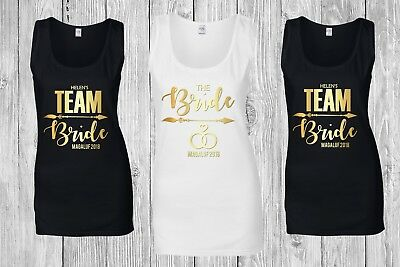 Personalised Bride Team Bride Ladies Tank Top Vest Bridal Hen Do Party Night Tee