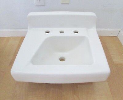 Vtg Mid Century American Standard White Shelf Back Asymmetrical Sink Wall Mount