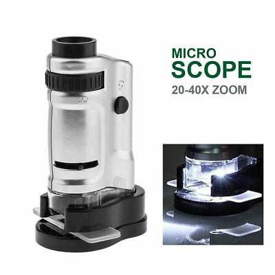 20 to 40X Zoom Portable Microscope Magnifier Jewelers GEM Loupe with LED Light