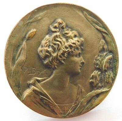 """Antique Gorgeous Collectible 1.3/4"""" Brass Button Woman Greenery Signed Bryk"""