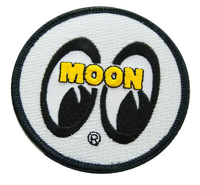 White Moon Round Patch Sew or Iron on Hotrod cool custom jacket shirt work rod