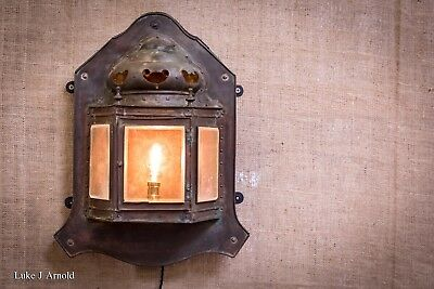 Early 20th Century Antique Arts & Crafts Lutyens Style Copper Wall Lantern Light
