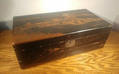 LARGE VICTORIAN DECORATED & LACQUERED ORIENTAL TRI-FOLD WRITING SLOPE c1875